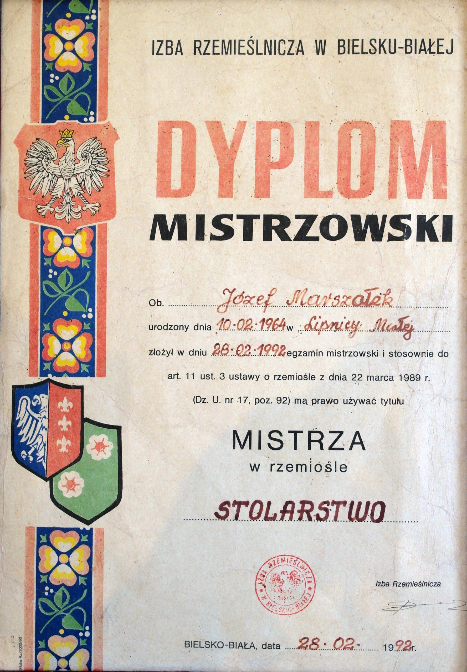 Dyplom Mistrzowski - Józef Marszałek