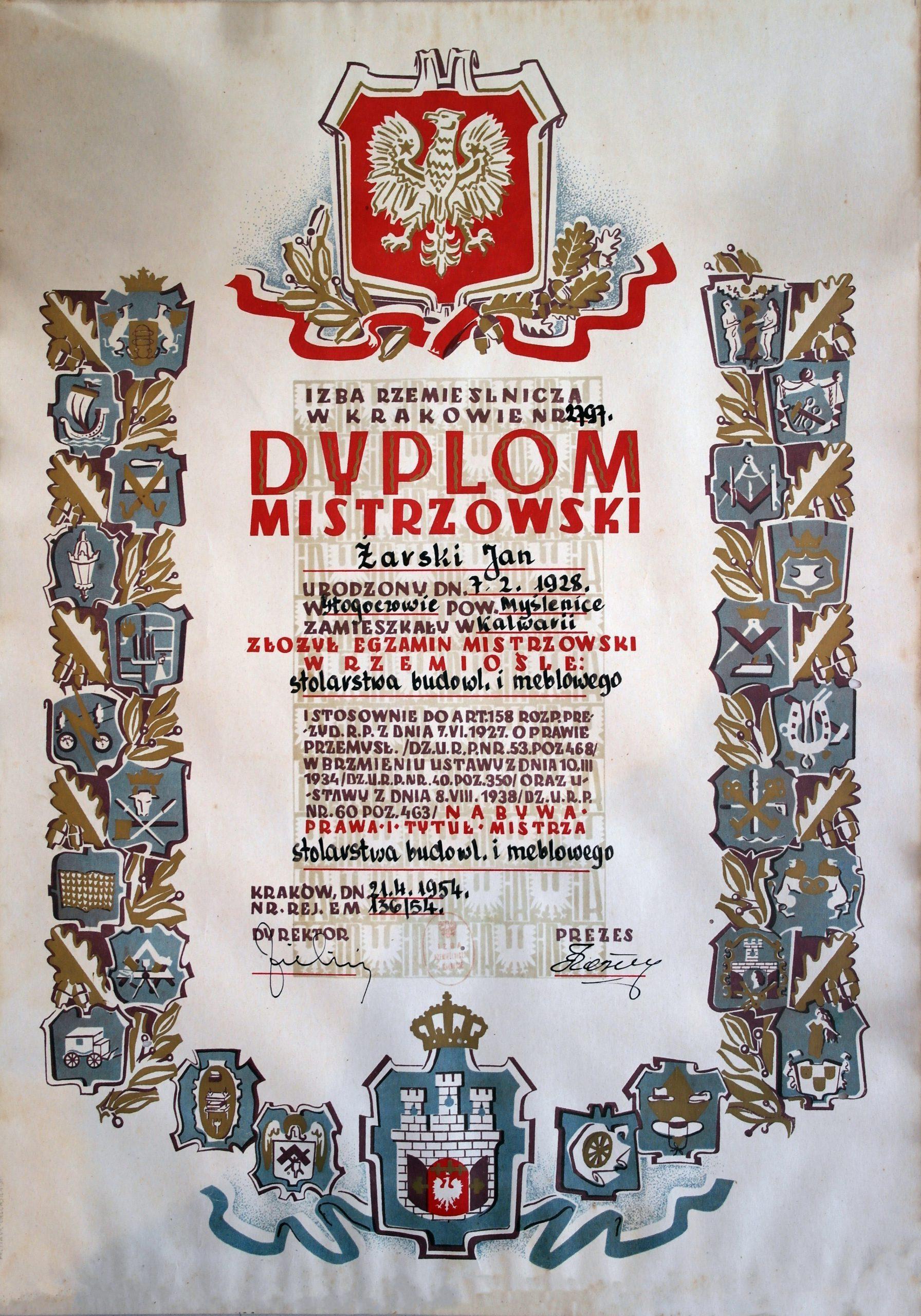 Dyplom Mistrzowski - Jan Żarski